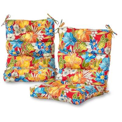 Set of 2 Aloha Floral Outdoor High Back Chair Cushions - Kensington Garden