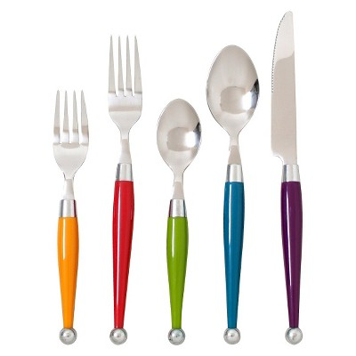 Casbah 20 Piece Silverware Set - Assorted Colors