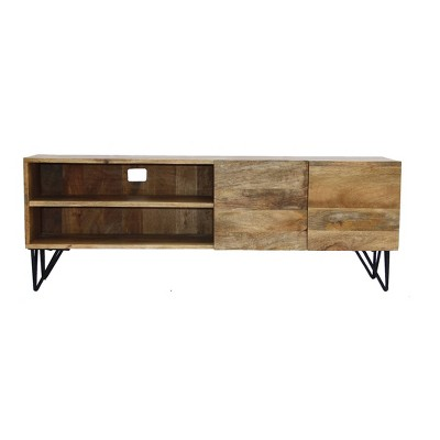 Metal TV Stand with Storage Cabinet Brown - The Urban Port
