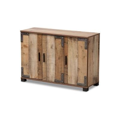 3 Door Cyrille Wood Shoe Cabinet Brown - Baxton Studio
