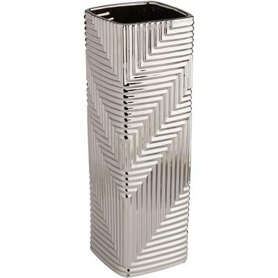 """Studio 55D Pure Silver Plating Texture 13 1/2"""" High Ceramic Vase"""