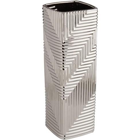 "Studio 55D Pure Silver Plating Texture 13 1/2"" High Ceramic Vase - image 1 of 4"