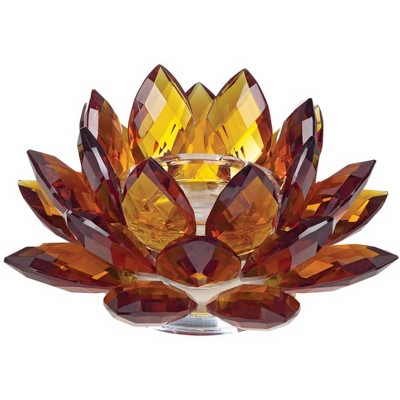 """Dahlia Studios Amber Glass 9 1/4"""" Wide Crystal Lotus Candle Holder"""