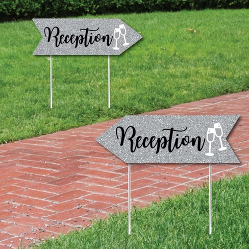 Big Dot Of Happiness Silver Wedding Reception Signs Wedding Sign Arrow Double Sided Directional Yard Signs Set Of 2 Reception Signs Target