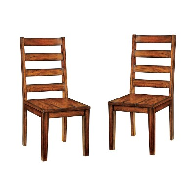 Set of 2 Taylor Rustic Slat Back Side Dining Chairs Oak - HOMES: Inside + Out