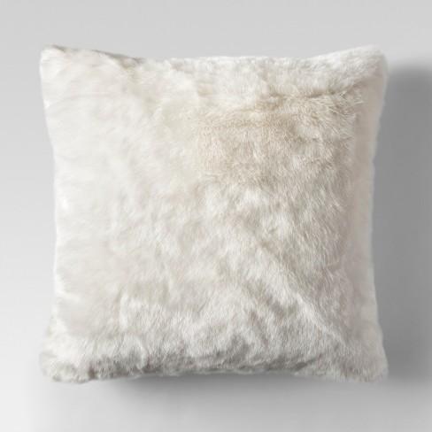 Admirable Cream Faux Fur Oversized Throw Pillow Threshold Machost Co Dining Chair Design Ideas Machostcouk