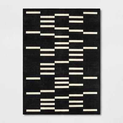 4'x6' Stripe Cut Paper Rug Black/White - Room Essentials™