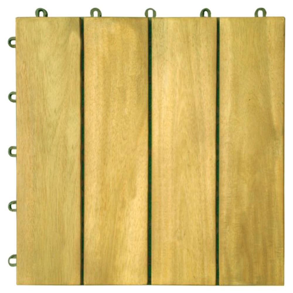 Vifah 4 Slat Acacia Interlocking Deck Tile - Brown (Set of 10)