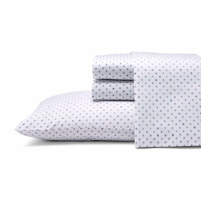 Queen Printed Pattern Percale Sheet Set Gray Dot - ED Ellen DeGeneres