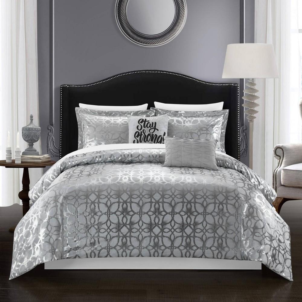 King 5pc Shea Comforter Set Gray Chic Home Design