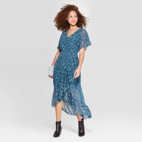 Women's Floral Print Short Sleeve V-Neck Chiffon Maxi Dress - A New Day™ Blue - image 1 of 3