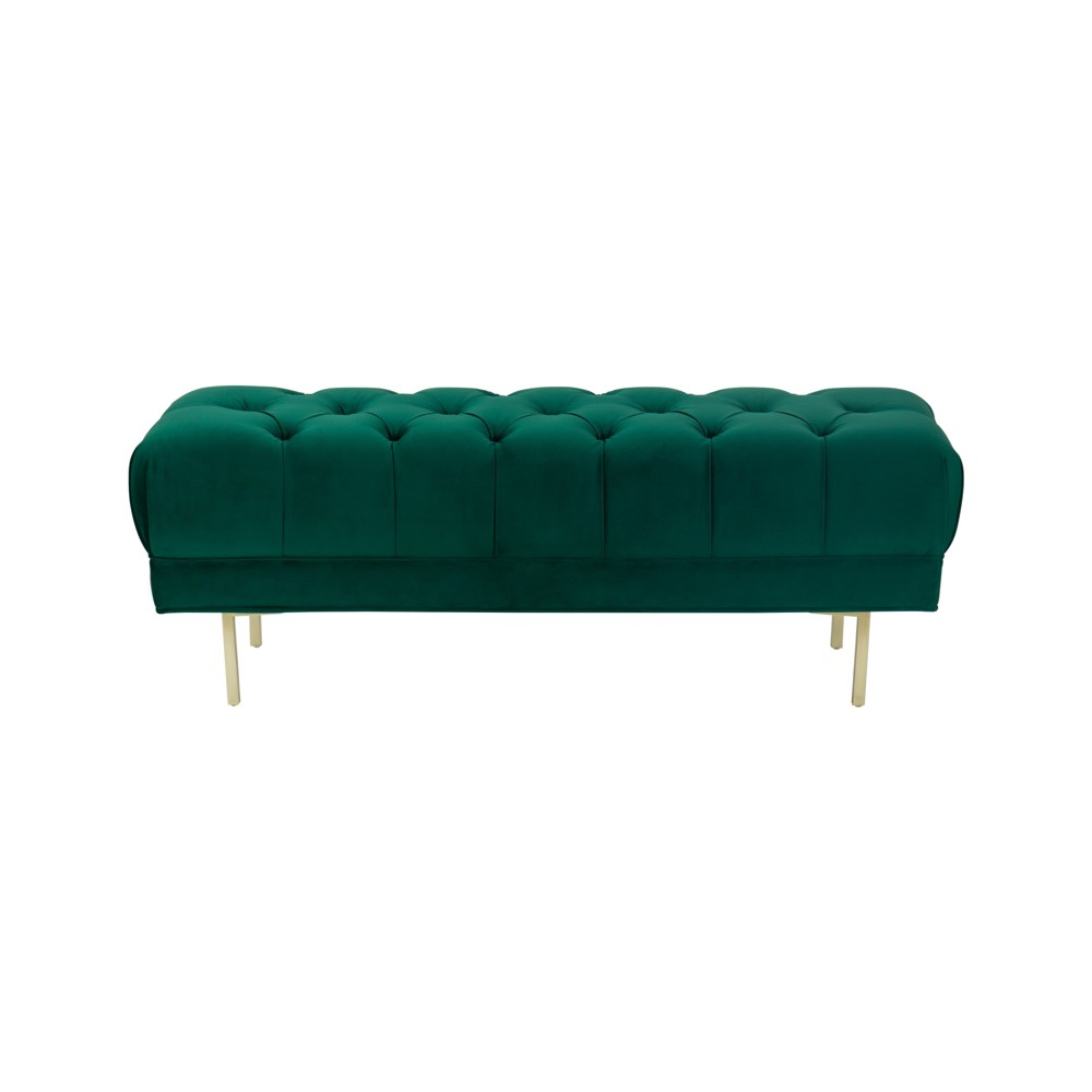 Image of Homepop Downing Large Velvet Decorative Bench with Button Tufting Emerald