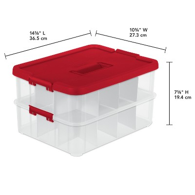 Superbe Sterilite 2 Layer Stack U0026 Carry Ornament Box   Clear With Red Lid And  Latches : Target