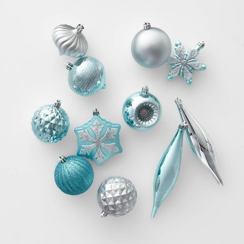 40ct Christmas Ornament Set Teal and Silver - Wondershop™ - image 1 of 2