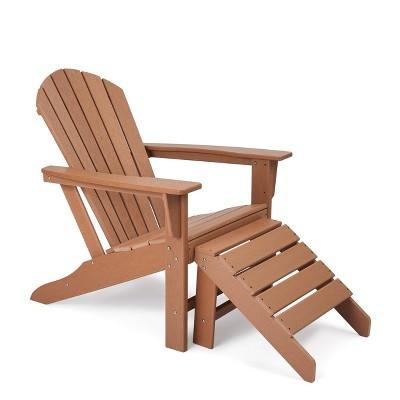 Plastic Resin Adirondack Chair with Ottoman - Brown - EDYO LIVING