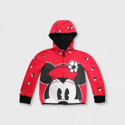 Girls' Disney Minnie Mouse Zip-Up Hoodie - Red - Disney Store