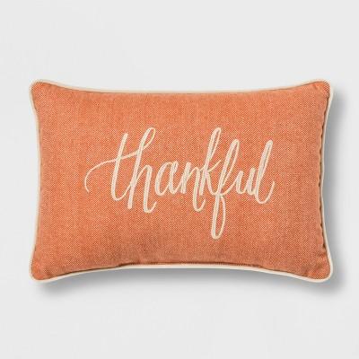 'Thankful' Lumbar Throw Pillow Orange - Threshold™
