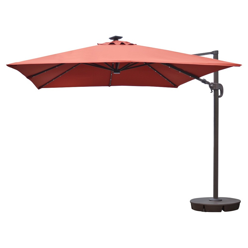 Image of Island Umbrella Santorini II Fiesta 10' Square Cantilever Umbrella in Terra Cotta Sunbrella, Terracotta