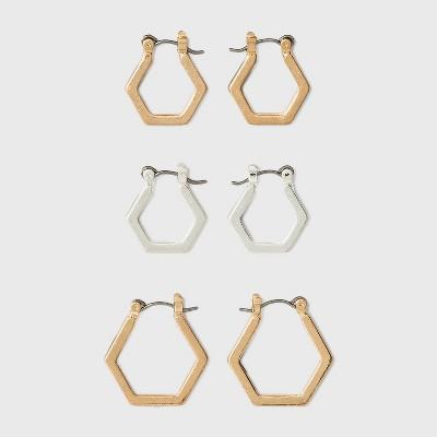 Hexagon Hoop Earring Set 3pc - Universal Thread™