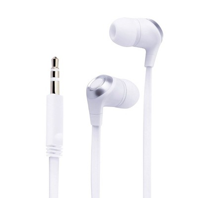 Insten 3.5mm Wired Earbuds - In-Ear Stereo Earphones & Headset for Android Smartphones, PC, Laptops, White/Silver