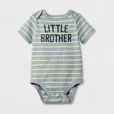Baby Boys' 'LITTLE BROTHER' Short Sleeve Bodysuit - Cat & Jack™ Gray 3-6M