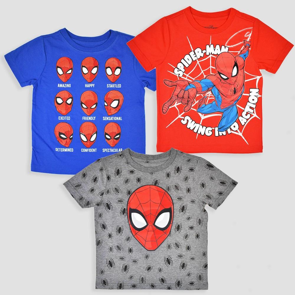 Toddler Boys' 3pk Marvel Spider-Man Short Sleeve T-Shirt - Blue/Red/Gray 5T, Multicolored