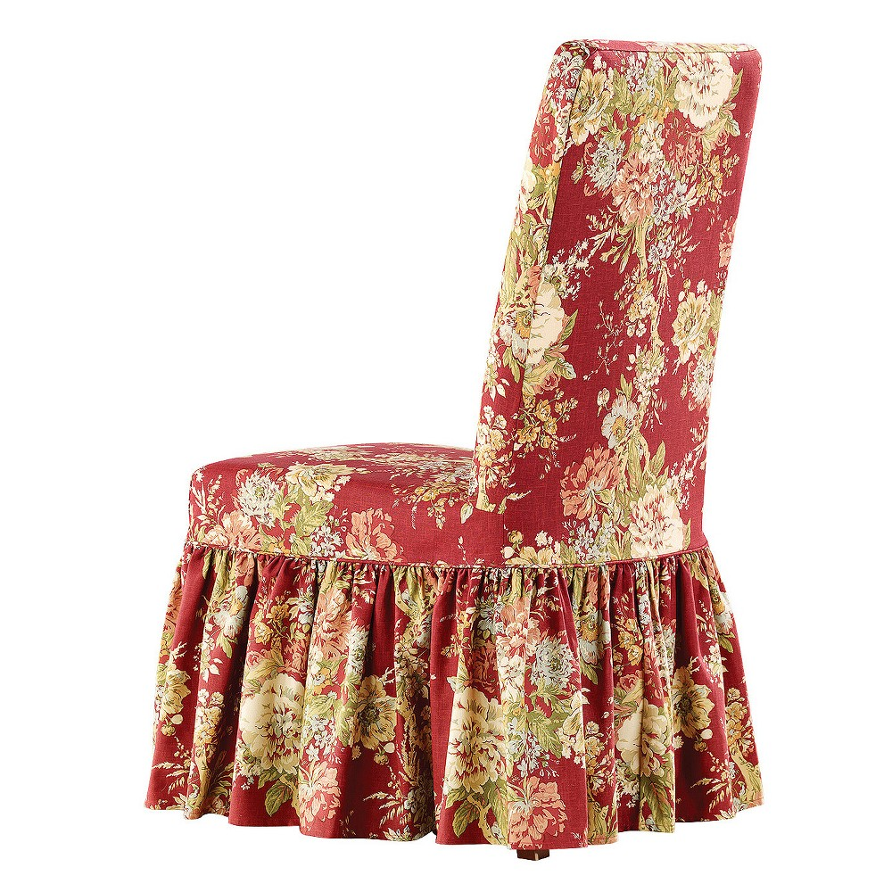 Ballad Bouquet Dining Room Chair Crimson (Red) - Sure Fit