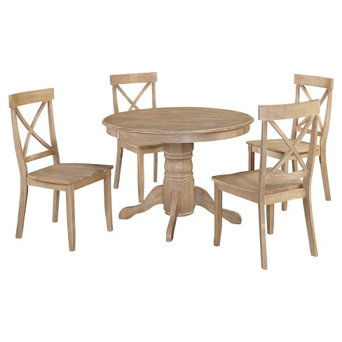 Michael 42 Round Dining Table With Set Of 4 Chairs White Wash