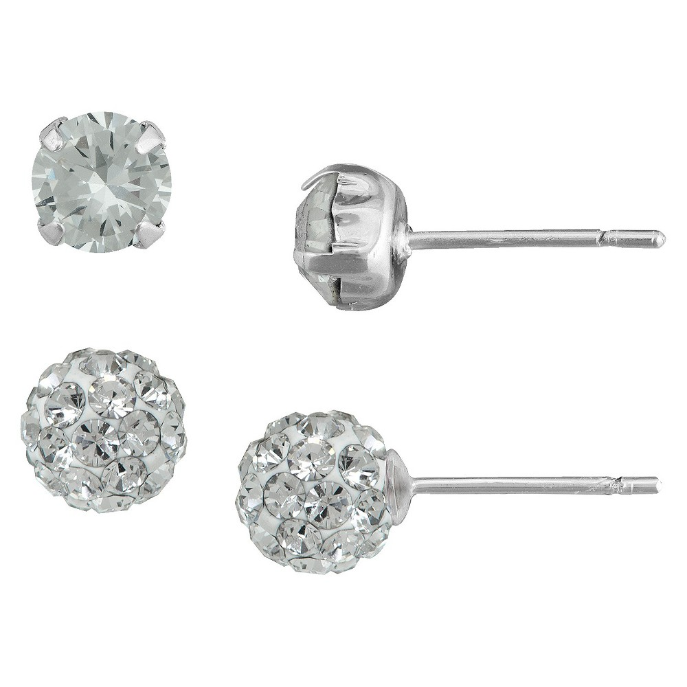 Silver Plated Cubic Zirconia Round Ball White Crystal Stud Earrings Set - 5mm