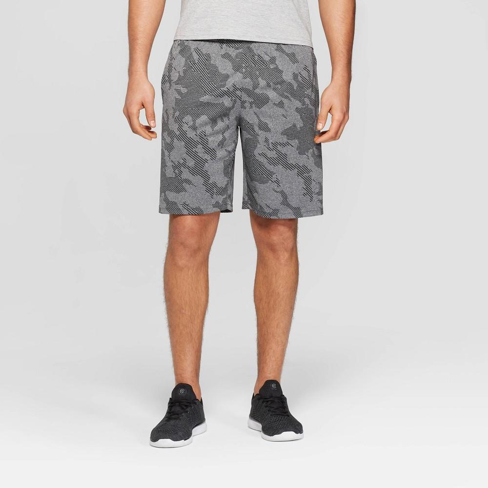 Image of Men's Camo Print Circuit Shorts - C9 Champion Black Heather Space S, Men's, Size: Small, Black Grey Space Striped