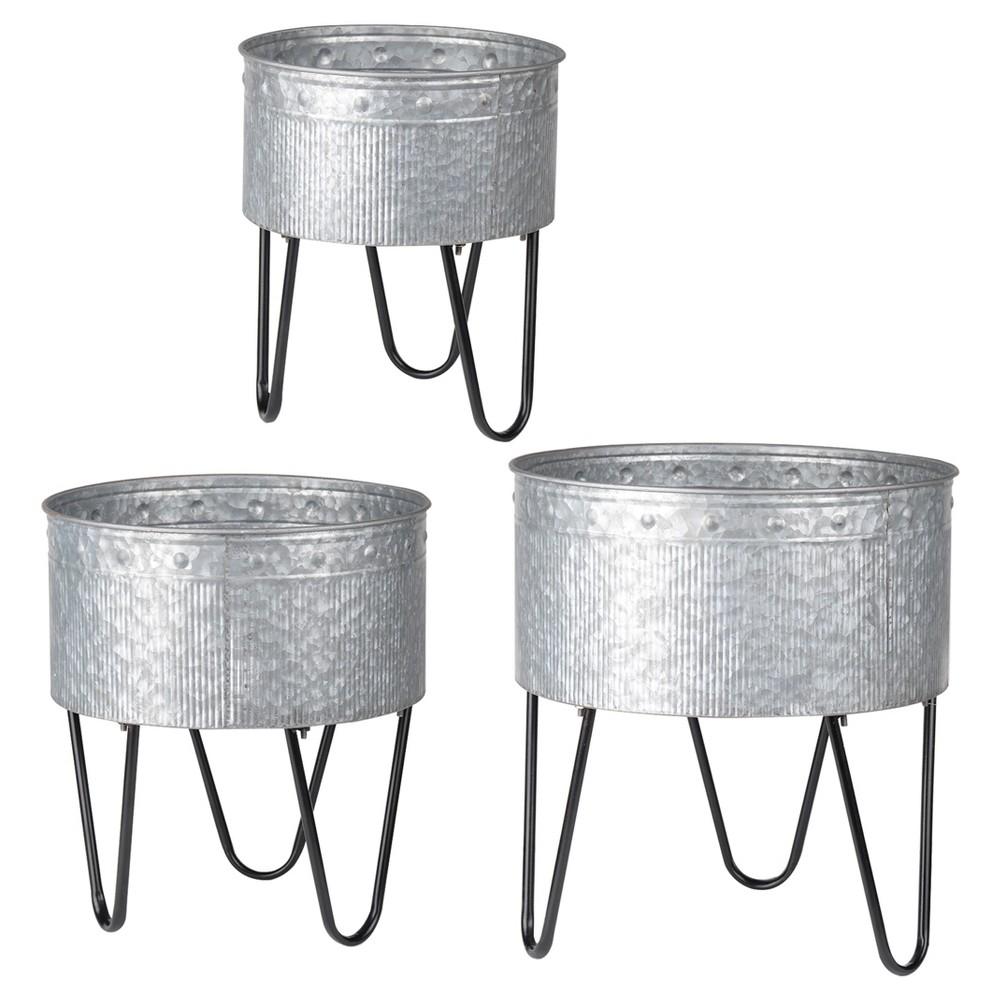 Image of Acoma Galvanized Metal Tub Silver 3pk - A&b Home