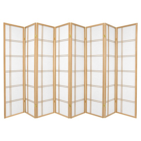 6 ft. Tall Double Cross Shoji Screen - Natural (8 Panels) - image 1 of 1