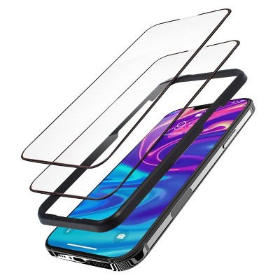 """Insten 2-Pack Glass Screen Protector Compatible with iPhone 13 And 13 Pro 6.1"""", 9H Hardness Tempered Glass, Easy Installation Frame, Case Friendly"""