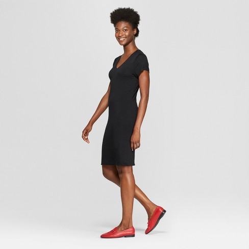 Womens Short Sleeve Knit T Shirt Dress A New Day Black Target