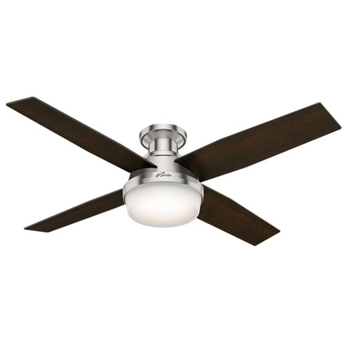 52 Dempsey Low Profile With Light Brushed Nickel Ceiling Fan Handheld Remote Hunter Target
