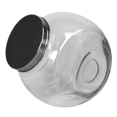 Home Basics Large 131.87 oz. Round Glass Candy Storage Jar with Stainless Steel Top, Clear