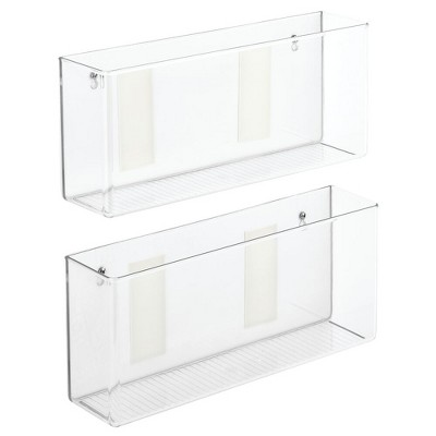 mDesign Adhesive Kitchen Cabinet Organizer for Food Pouches, 2 Pack - Clear