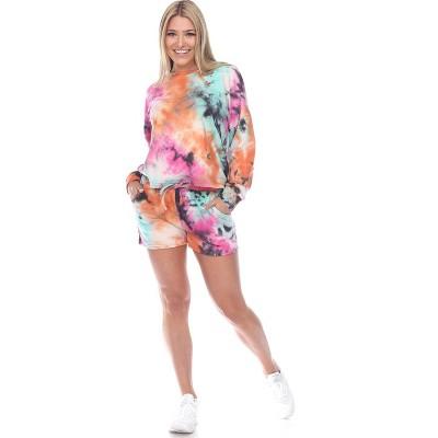 Women's Tie Dye Lounge Top & Shorts Set - White Mark