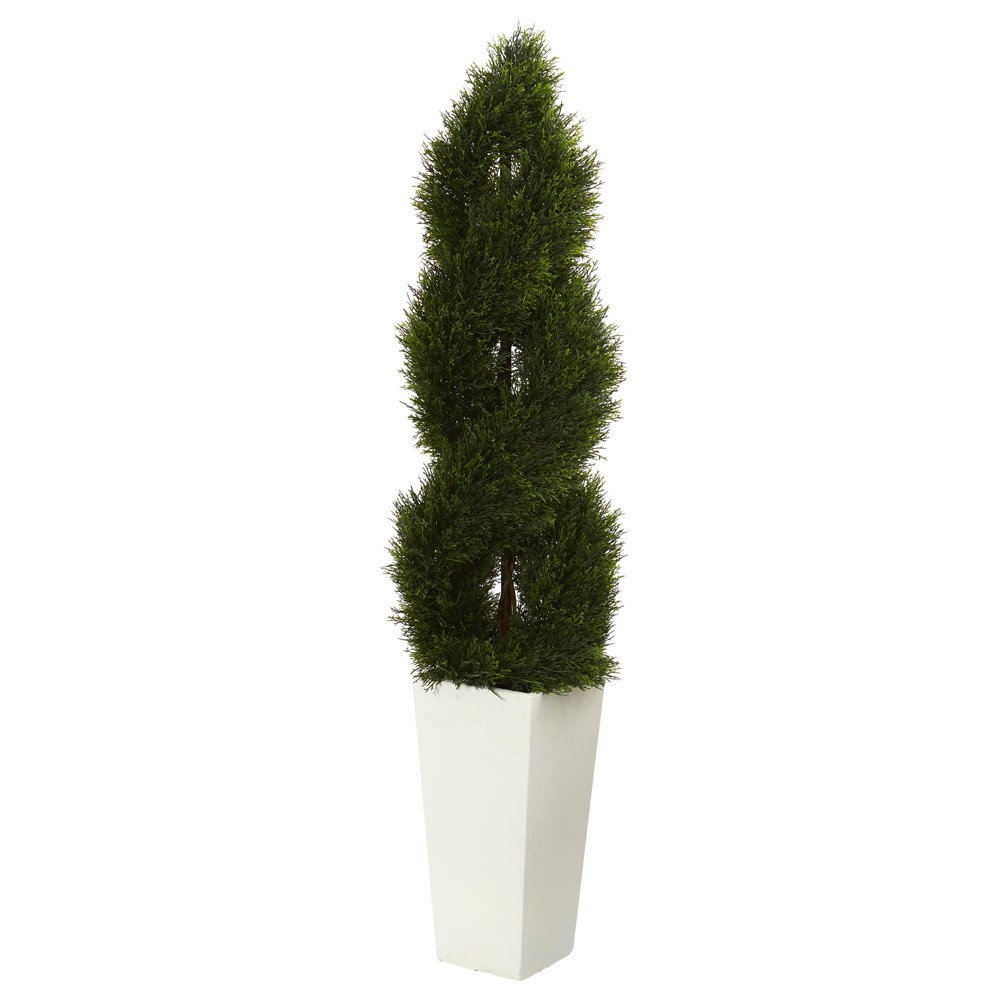 5 5ft Double Pond Cypress Spiral Topiary Artificial Tree In White Tower Planter Nearly Natural