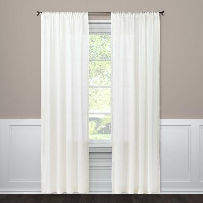 Light Filtering Curtain Panel Natural Linen Look 63  - Threshold™