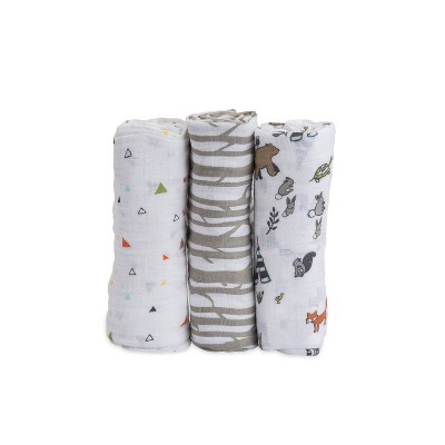 Little Unicorn Cotton Muslin Swaddle 3pk - Forest Friends