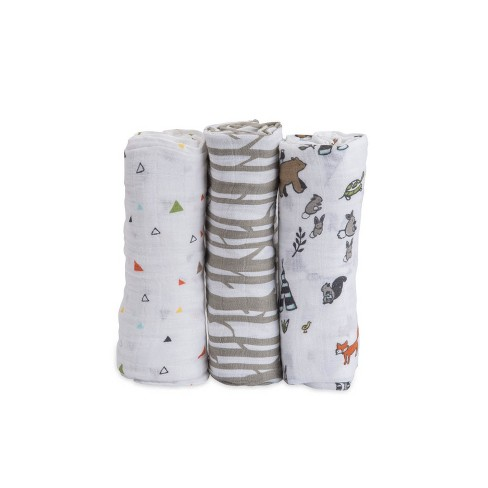 Little Unicorn Cotton Muslin Swaddle 3pk - Forest Friends - image 1 of 4