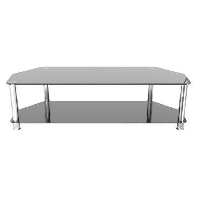 """Glass Shelves TV Stand for TVs up to 65"""" - Silver/Black"""