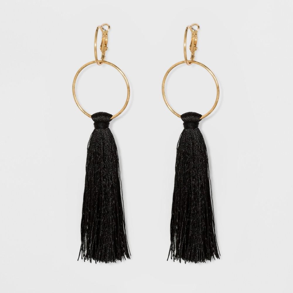 Round Links and Fabric Tassel Earrings - A New Day Black