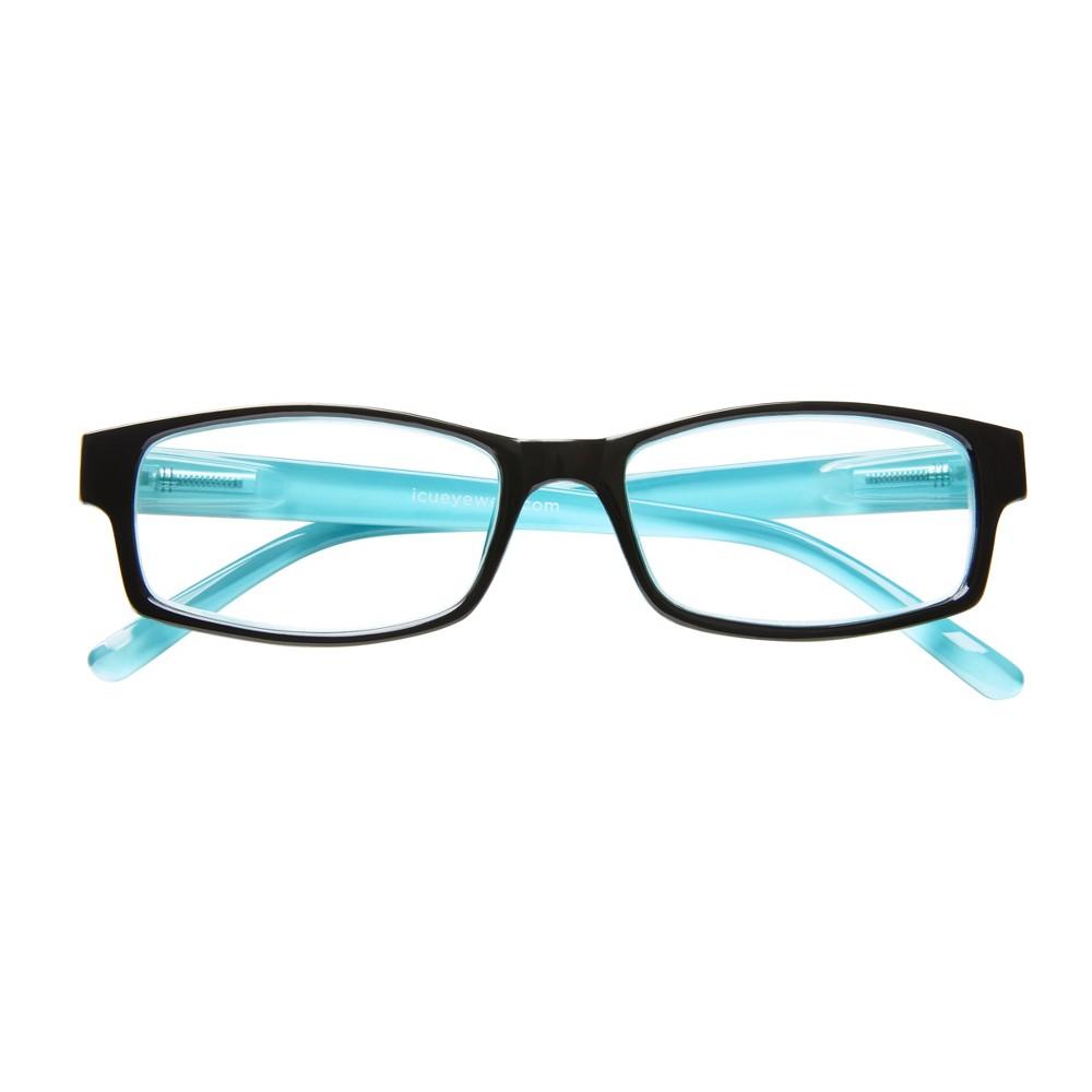 Icu Berryessa Large Black with Turquoise Interior Reading Glasses