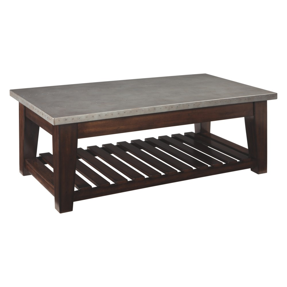 Bynderman Lift Top Cocktail Table Brown/Silver - Signature Design by Ashley