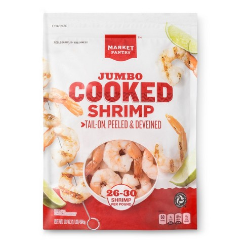Jumbo Cooked Shrimp, Tail-On, Peeled & Deveined - 26-30ct/16oz - Market Pantry™ - image 1 of 2