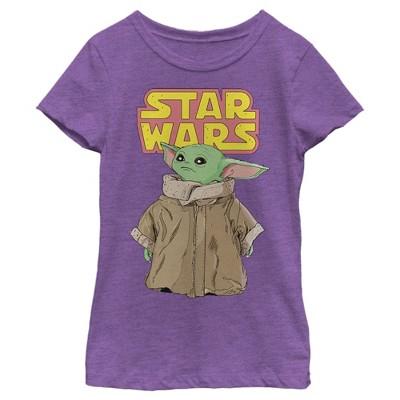 Girl's Star Wars The Mandalorian The Child Retro Logo Stance T-Shirt