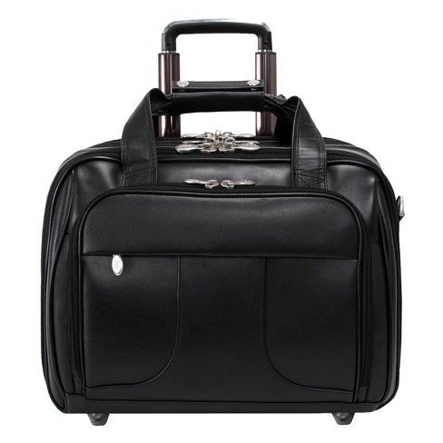 """McKlein Chicago 15"""" Leather Patented Detachable - Wheeled Laptop Overnight with Removable Briefcase (Black) - image 1 of 4"""