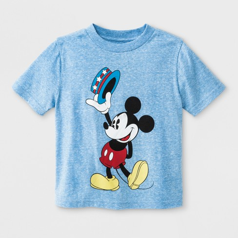 Toddler Boys' Disney Mickey Mouse Uncle Sam Short Sleeve T-Shirt - Light Blue - image 1 of 1